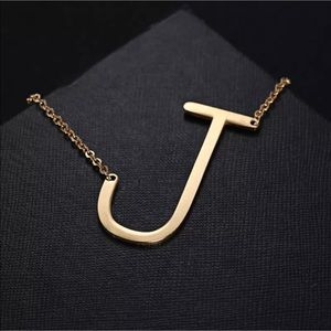 """Jewelry - Initial """"J"""" Gold Plated Necklace"""